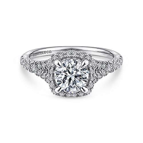 Gabriel - Thyme 14k White Gold Round Double Halo Engagement Ring