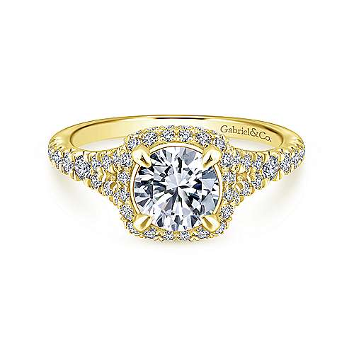 Gabriel - Thyme 14k Yellow Gold Round Double Halo Engagement Ring