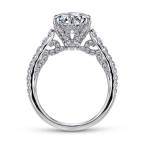 Tia 18k White Gold Round Straight Engagement Ring angle 2