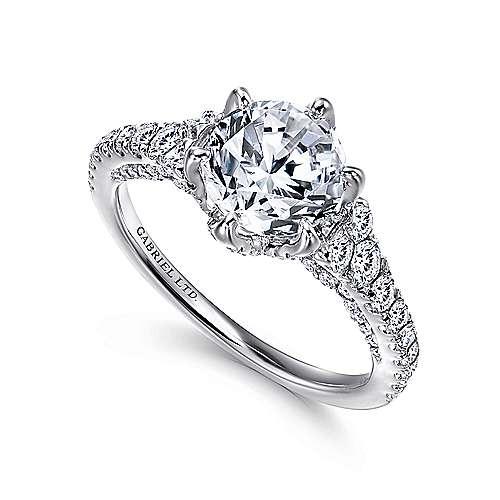Tia 18k White Gold Round Straight Engagement Ring angle 3