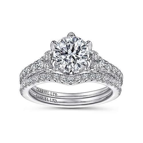 Tia 18k White Gold Round Straight Engagement Ring angle 4