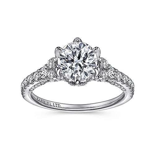 Tia 18k White Gold Round Straight Engagement Ring angle 5