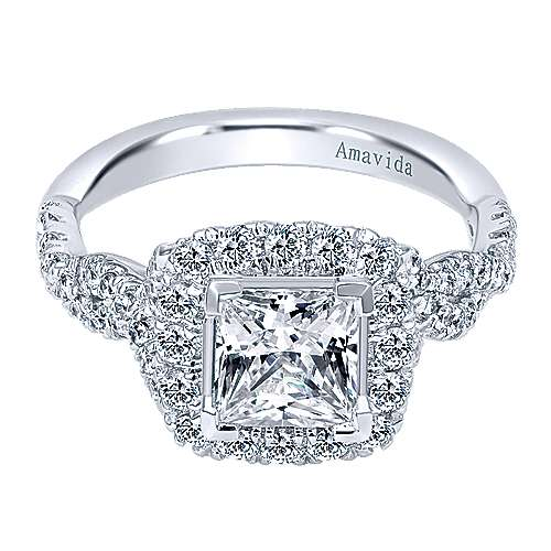 Tiara 18k White Gold Princess Cut Halo Engagement Ring