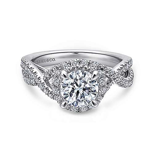 Gabriel - Tiffany 14k White Gold Round Halo Engagement Ring