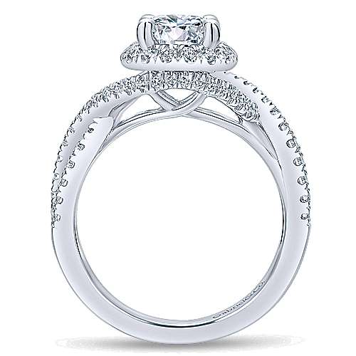 Tiffany 14k White Gold Round Halo Engagement Ring angle 2
