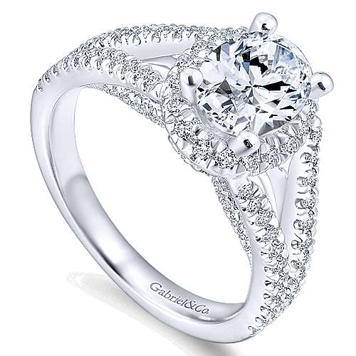 Tiger Lily 14k White Gold Oval Halo Engagement Ring angle 3