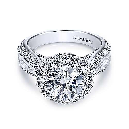 Gabriel - Tiki 18k White Gold Round Halo Engagement Ring