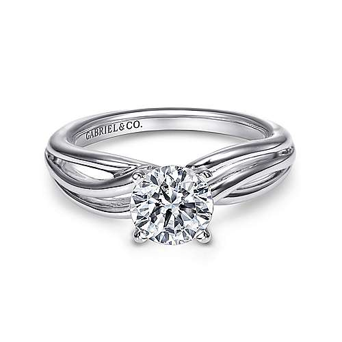 Gabriel - Tillie 14k White Gold Round Straight Engagement Ring