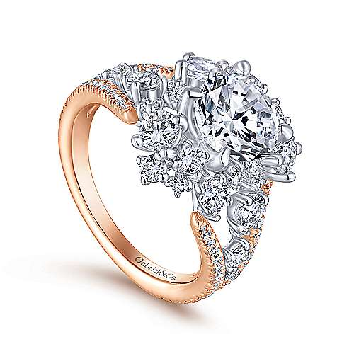 Tinsley 18k White And Rose Gold Round Halo Engagement Ring angle 3