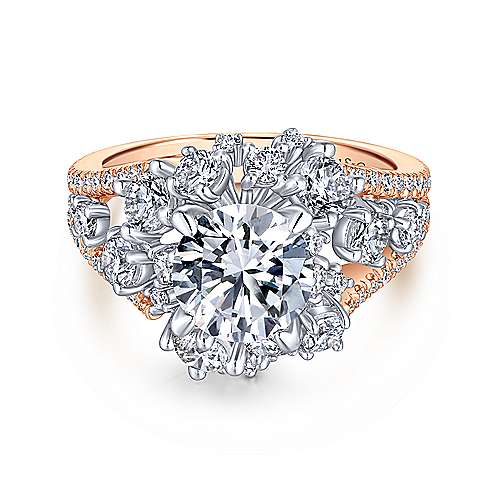 Gabriel - Tinsley 18k White And Rose Gold Round Split Shank Engagement Ring