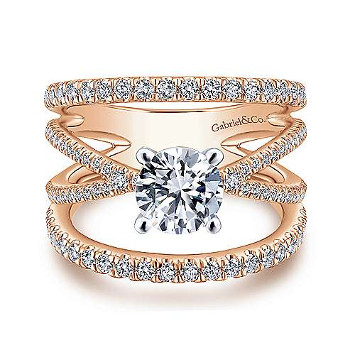 Gabriel - Titania 14k White And Rose Gold Round Split Shank Engagement Ring