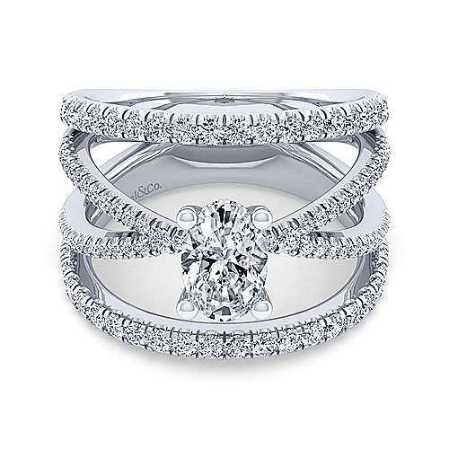 Gabriel - Titania 14k White Gold Oval Split Shank Engagement Ring