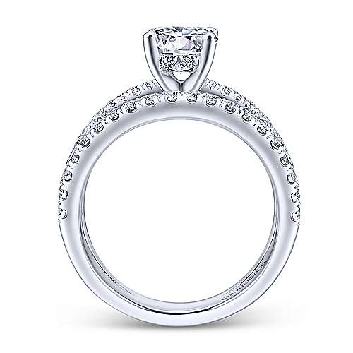 Titania 14k White Gold Round Split Shank Engagement Ring angle 2