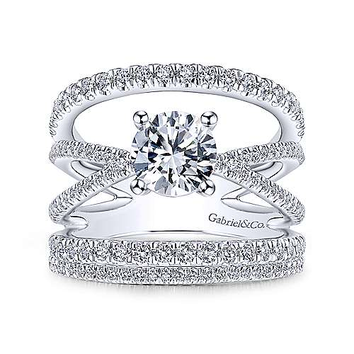 Titania 14k White Gold Round Split Shank Engagement Ring angle 4