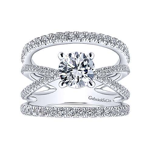 Titania 14k White Gold Round Split Shank Engagement Ring angle 5