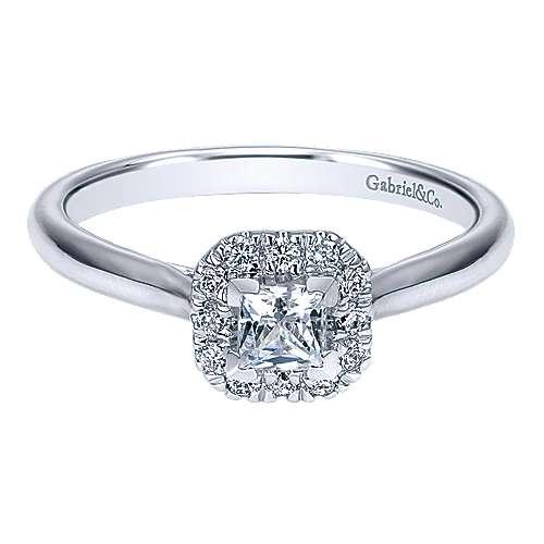 Gabriel - Toni 14k White Gold Princess Cut Halo Engagement Ring