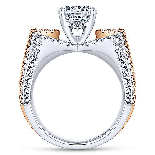 Tracy 14k White And Rose Gold Round Split Shank Engagement Ring angle 2