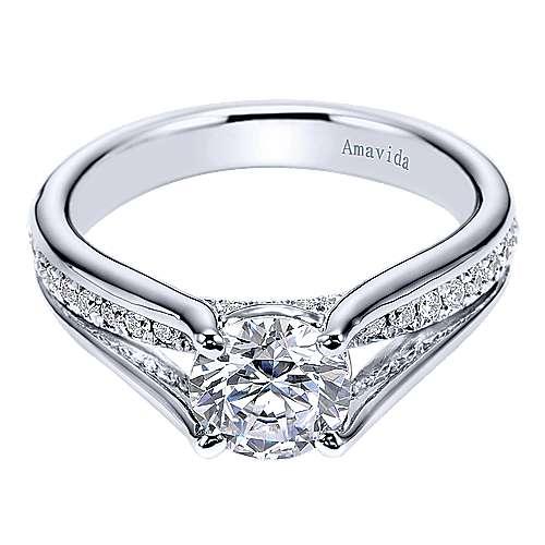 Trey 18k White Gold Round Split Shank Engagement Ring angle 1
