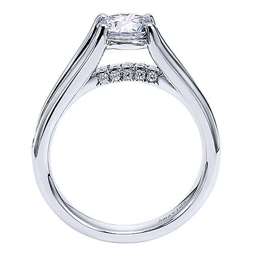 Trey 18k White Gold Round Split Shank Engagement Ring angle 2