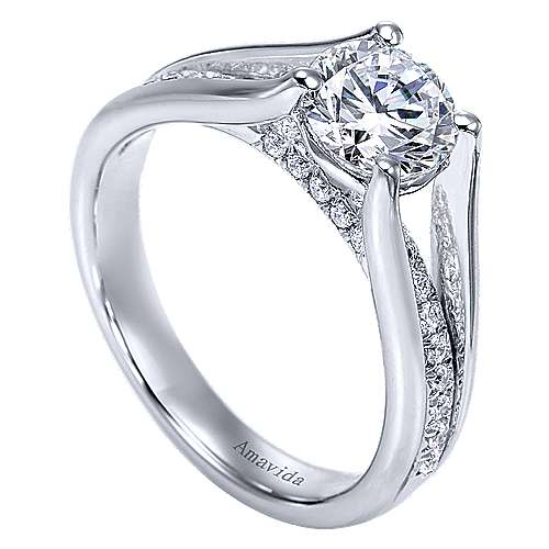 Trey 18k White Gold Round Split Shank Engagement Ring angle 3