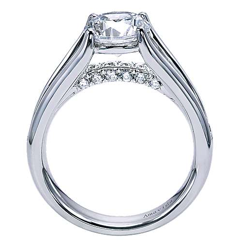 Trey 18k White Gold Round Split Shank Engagement Ring