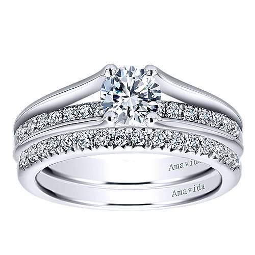 Trey 18k White Gold Round Split Shank Engagement Ring angle 4