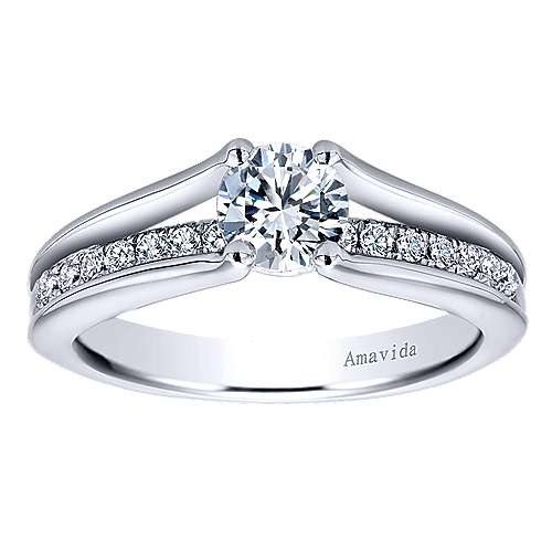 Trey 18k White Gold Round Split Shank Engagement Ring angle 5