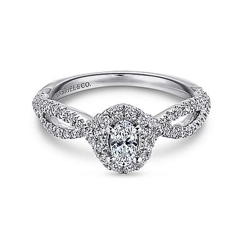 Gabriel - Trimble 14k White Gold Oval Halo Engagement Ring