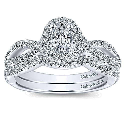 Trimble 14k White Gold Oval Halo Engagement Ring angle 4