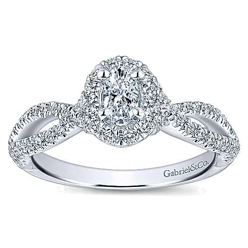 Trimble 14k White Gold Oval Halo Engagement Ring angle 5