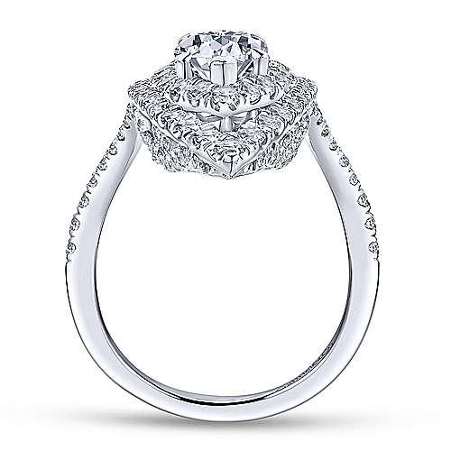 Trinitaria 18k White Gold Pear Shape Double Halo Engagement Ring