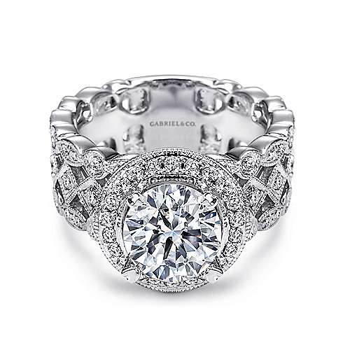 Gabriel - Trinity 14k White Gold Round Halo Engagement Ring
