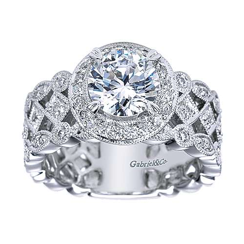 Trinity 14k White Gold Round Halo Engagement Ring