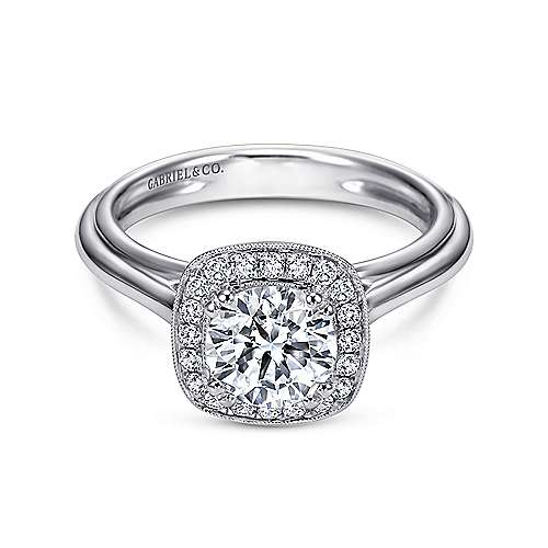 Gabriel - Tropez 18k White Gold Round Halo Engagement Ring