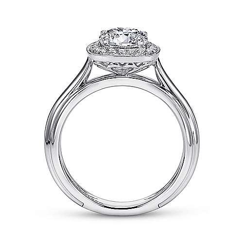 Tropez 18k White Gold Round Halo Engagement Ring angle 2
