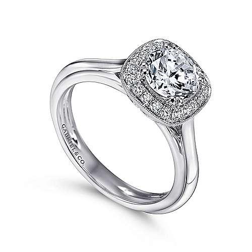 Tropez 18k White Gold Round Halo Engagement Ring angle 3