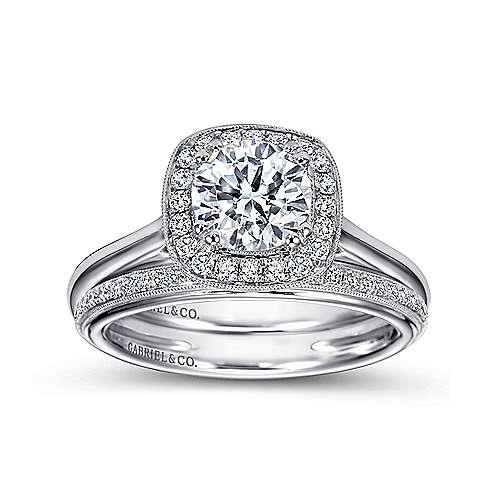 Tropez 18k White Gold Round Halo Engagement Ring angle 4