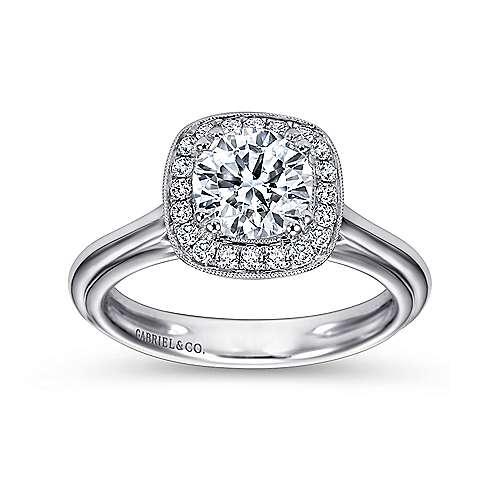 Tropez 18k White Gold Round Halo Engagement Ring angle 5