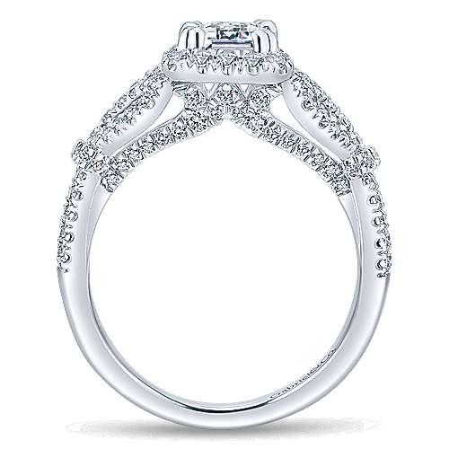 Tulip 14k White Gold Emerald Cut Halo Engagement Ring angle 2