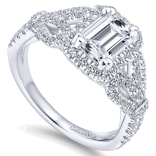 Tulip 14k White Gold Emerald Cut Halo Engagement Ring angle 3