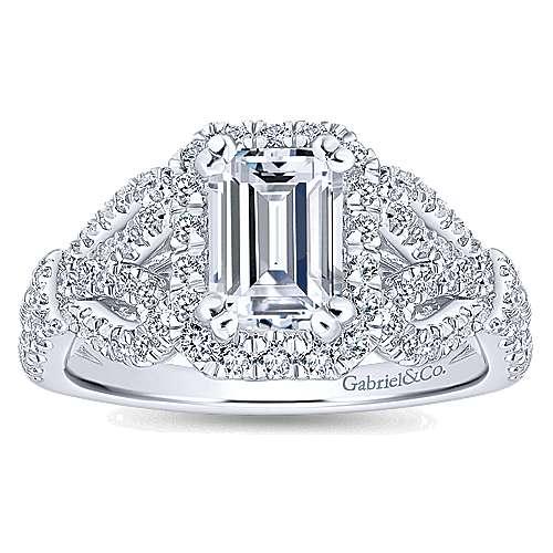 Tulip 14k White Gold Emerald Cut Halo Engagement Ring angle 5