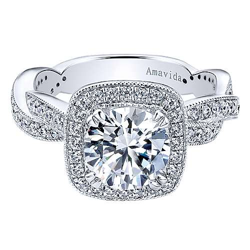 Gabriel - Tulle 18k White Gold Round Halo Engagement Ring