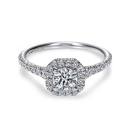 Gabriel - Turino 14k White Gold Round Halo Engagement Ring