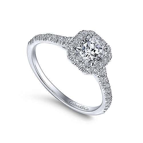 Turino 14k White Gold Round Halo Engagement Ring angle 3