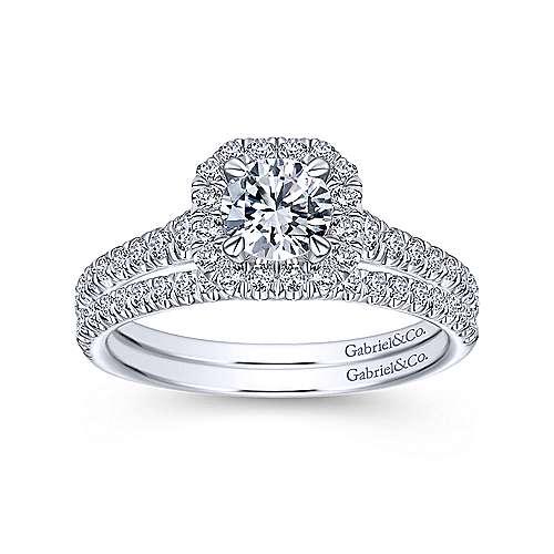 Turino 14k White Gold Round Halo Engagement Ring angle 4