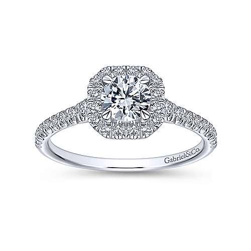 Turino 14k White Gold Round Halo Engagement Ring angle 5