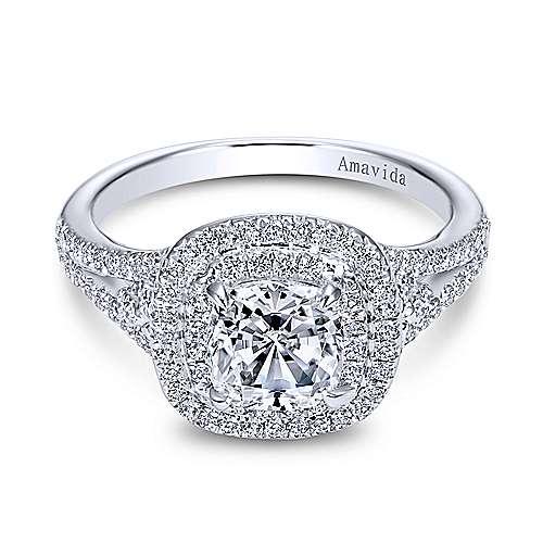 Tyler 18k White Gold Cushion Cut Double Halo Engagement Ring