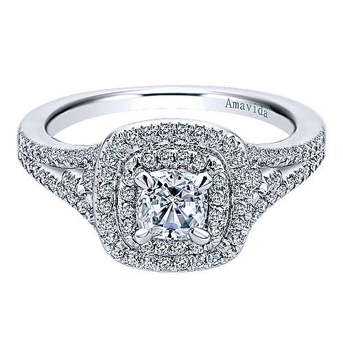Gabriel - Tyler 18k White Gold Cushion Cut Double Halo Engagement Ring
