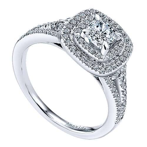 Tyler 18k White Gold Cushion Cut Double Halo Engagement Ring angle 3