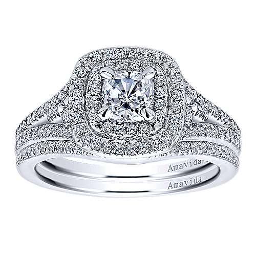 Tyler 18k White Gold Cushion Cut Double Halo Engagement Ring angle 4